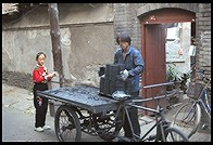 Coal delivery. Hutong.  Beijing