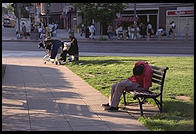 Homeless folks in the heart of the NW Washington, D.C. business district., just a few blocks from the White House.