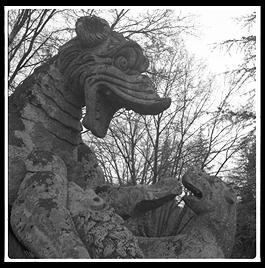 Parco dei Mostri (park of monsters), below the town of Bomarzo, Italy (1.5 hours north of Rome). This was the park of the 16th century Villa Orsini and is filled with grotesque sculptures.
