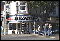 Ben and Jerry's store at the corner of Haight and Ashbury streets in San Francisco, California. Sic transit gloria hippie.