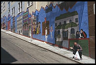 Painted wall on the border between Chinatown and North Beach. San Francisco, California