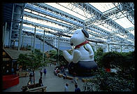 A massive Snoopy balloon inside Mall of America (in Minneapolis)