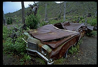 Car damaged in the 1980 explosion of Mt. St. Helens (Washington State). Photo taken in 1993.