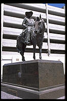Statue of Benny Binion, founder of the Horseshoe Club casino. Downtown Las Vegas. His son Ted Binion, was murdered on September 17, 1998 by Sandy Murphy, Binion's 27-year-old girlfriend and former topless dancer, and her lover, Rick Tabish