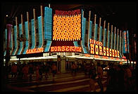 Binion's Horseshoe. Downtown Las Vegas (Fremont Street). The owner of Binion's, Ted Binion, was murdered on September 17, 1998 by Sandy Murphy, Binion's 27-year-old girlfriend and former topless dancer, and her lover, Rick Tabish