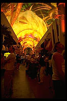 Downtown Las Vegas (Fremont Street) by night, with light show projected onto the canopy over the street.